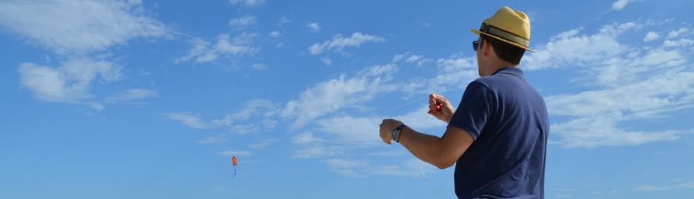 Jimmy Atkinson flying a kite